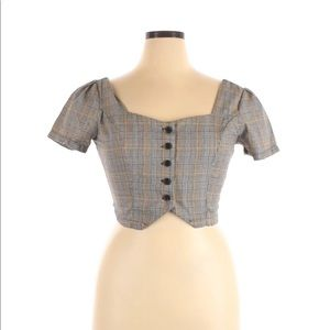 NEW LOOK plaid short sleeve crop top button v neck